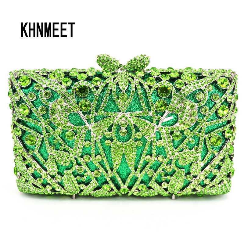 Green Luxury Evening Bag Ladies Party Clutch Bag Women Prom Purse Pochette Wedding Bride Bag SC312