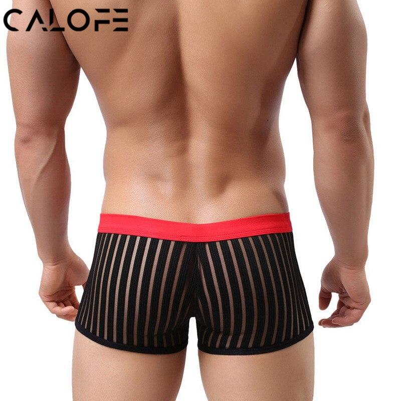 CALOFE Sexy Mens Stripe Beach Board Shorts Mesh Breathable Quick Dry Swim Trunks Sexy Swimming Pants Men Trunks Swimwear Briefs