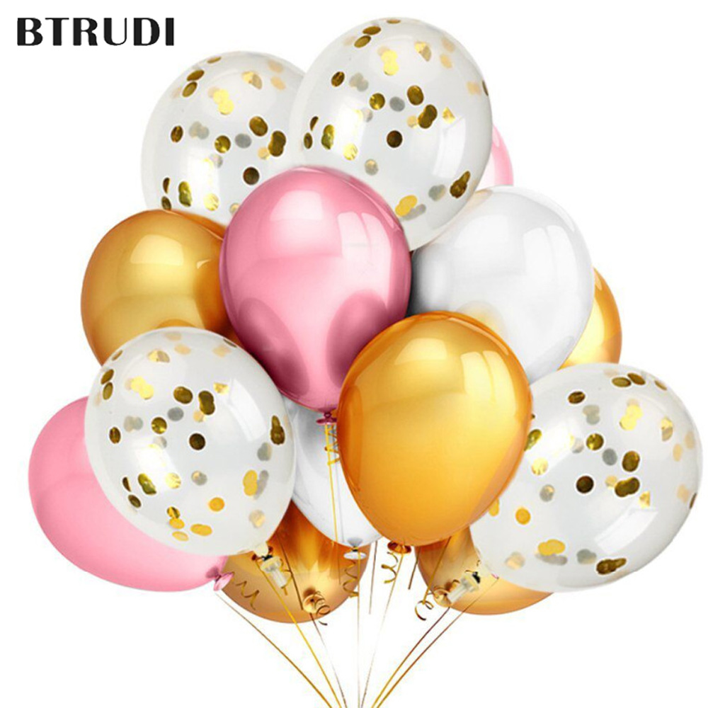 BTRUDI 30/50/100pcs 12inch Transparent sequin balloon set pink gold and white birthday party for child wedding descrption supply