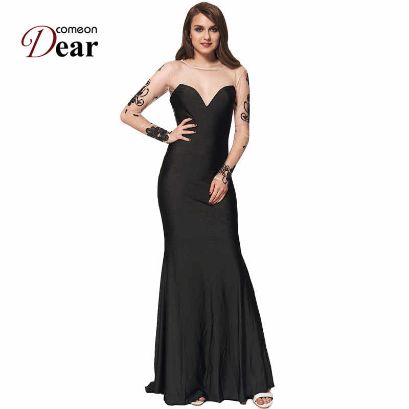 ... VJ1023 Comeondear Dresses Party Evening Elegant Vestidos Long Floral  Embroidery Mesh Long Sleeve Black Vintage Maxi ... 3a4e6c006868