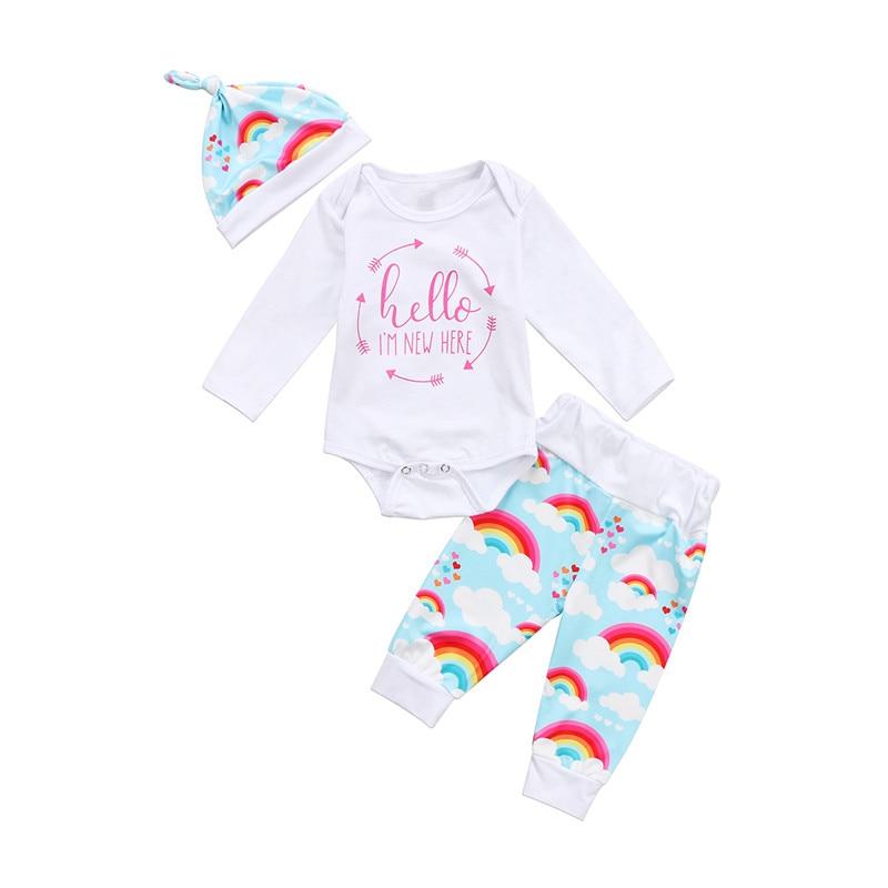 Baby Girl Rainbow Clothes Set Fall Newborn Baby Girls Long ...