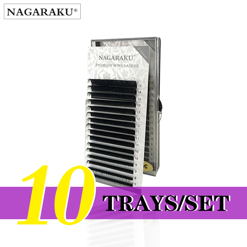 NAGARAKU  10 Trays/set  J B C D Curl  Length 7-15mm Mixed In One Tray Eyelash Extensions Individual Faux Mink Eyelash Lashes