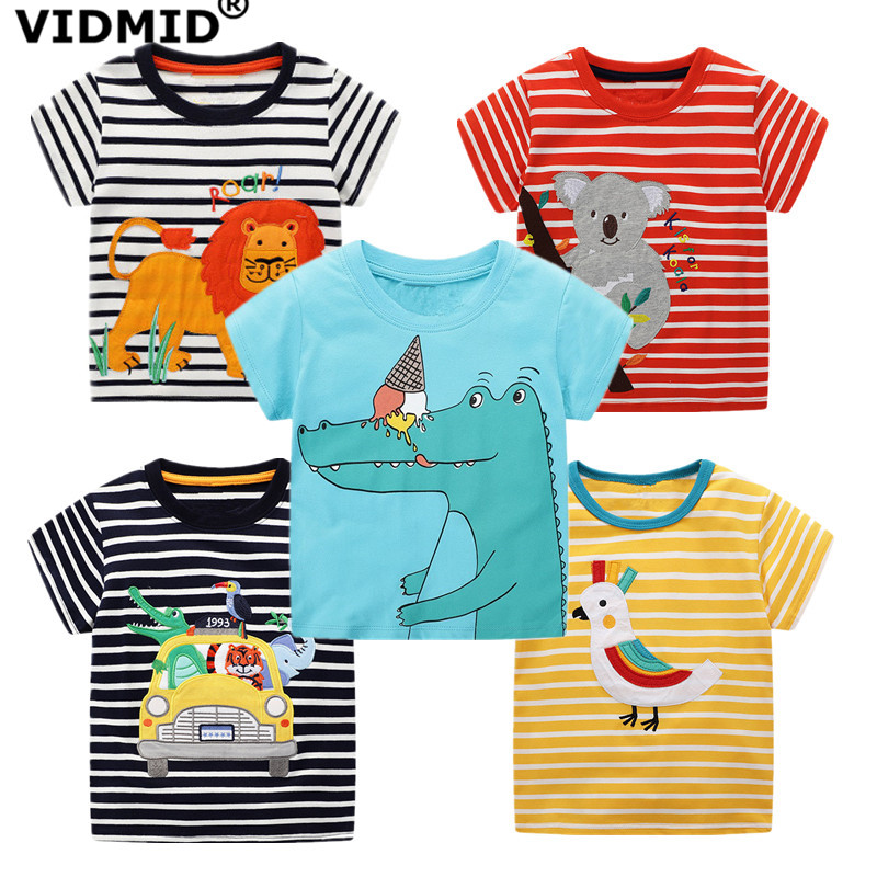 VIDMID Boys T-Shirt Clothing Short-Sleeve Cartoon-Animals Kids Cotton Children Summer