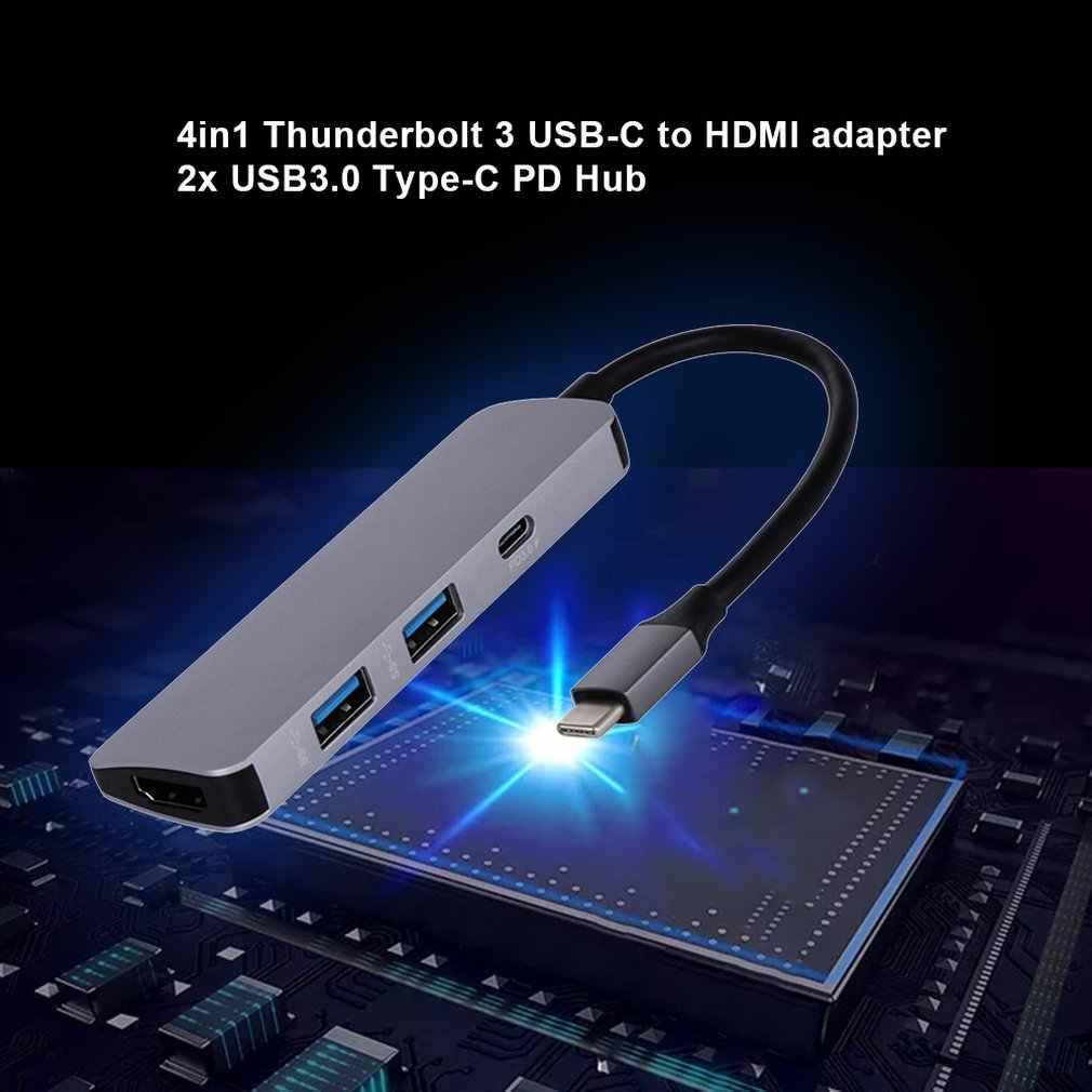 4 في 1 Thunderbolt 3 USB-C إلى محول HDMI 2x USB3.0 نوع-C PD محور لسامسونج Dex
