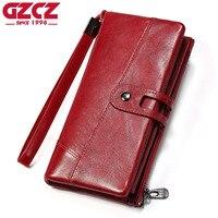 GZCZ Women Wallet Female Purse Women Leather Wallet Long Coin Purse Card Holder Money Clutch Wristlet