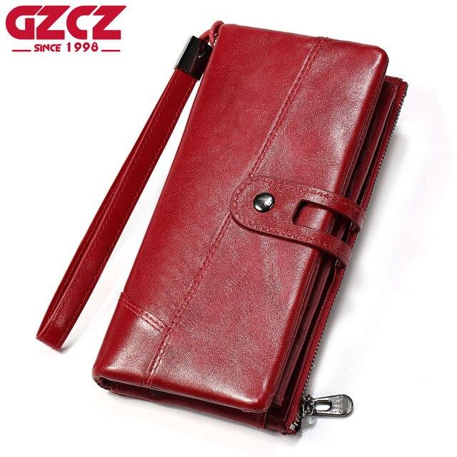 8770b3b3d9b4 GZCZ Women Wallet Female Purse Women Leather Wallet Long Coin Purse Card  Holder Money Clutch Wristlet High Quality Zipper Design