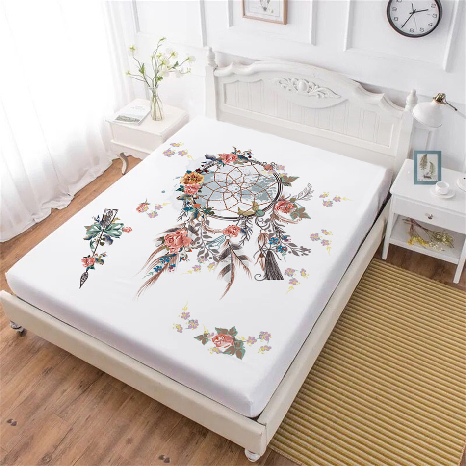 Dream Catcher Series Fitted Sheet Colorful Feather Print Bed Sheet Owl Eagle Print Sheets Elastics Band