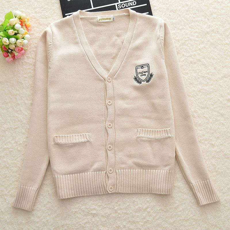 Almond color Seven-pin Cute Loose embroidery Cotton Cardigan coat sweater