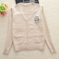 Almond color Seven pin Cute Loose embroidery Cotton Cardigan coat sweater