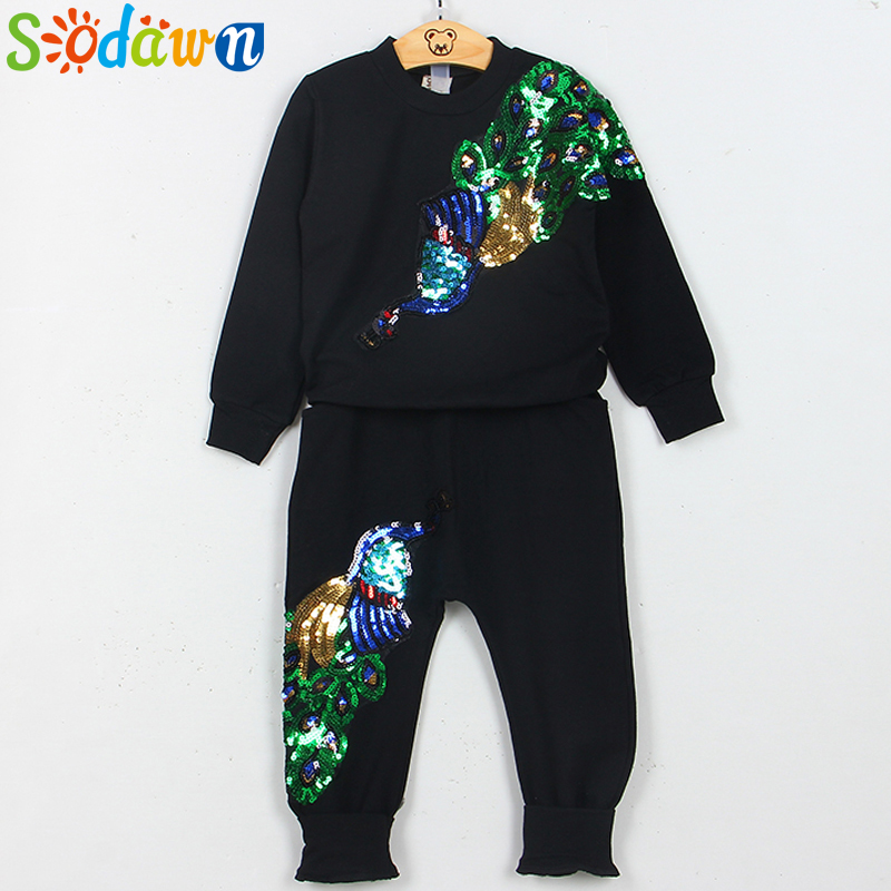 Sodawn New Autumn Girl Clothing Suit Embroidery Peacock Long Sleeve + Pant 2Pcs Baby Girl Clothes Kids Clothing Sets Girls Suits mother nest 3sets lot wholesale autumn toddle girl long sleeve baby clothing one piece boys baby pajamas infant clothes rompers