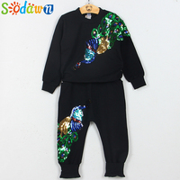 New Style Girl Clothing Suit Embroidery Peacock Both On Sleeved Tees And Full Length Pants High