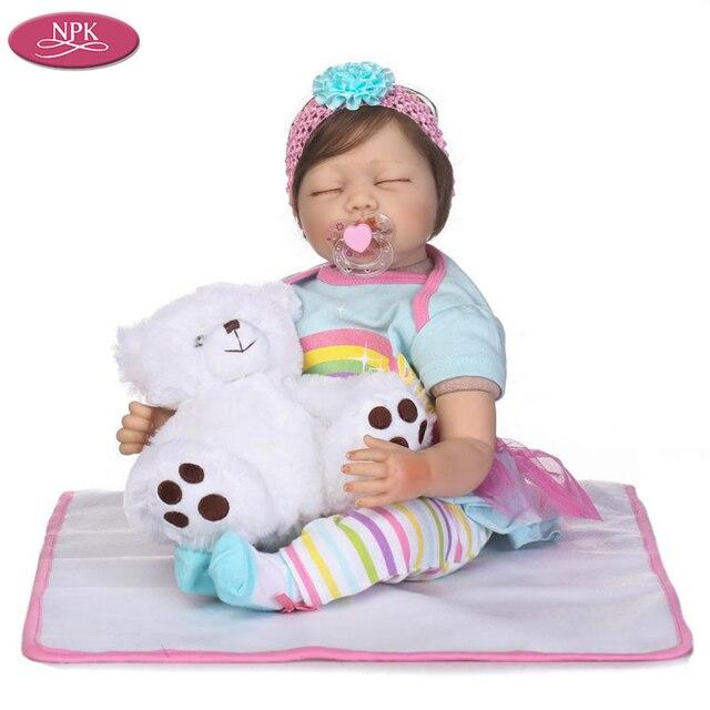 NPK 55 CM Silikon Boneka Manusia Hidup Reborn Baby Girl Lembut Kain tubuh Realistis  Bayi Dolls 146f6b1de5