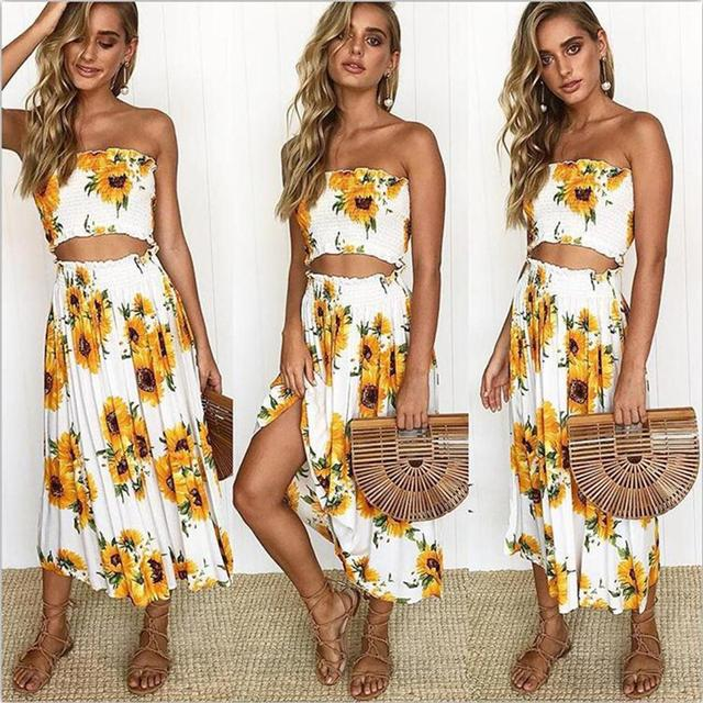 20a1ce16b25 2018 Summer Two Piece Set Women Sexy Strapless Crop Top and Skirt Set Plus  Size Boho Flower 2 Piece Outfits for Women Beach