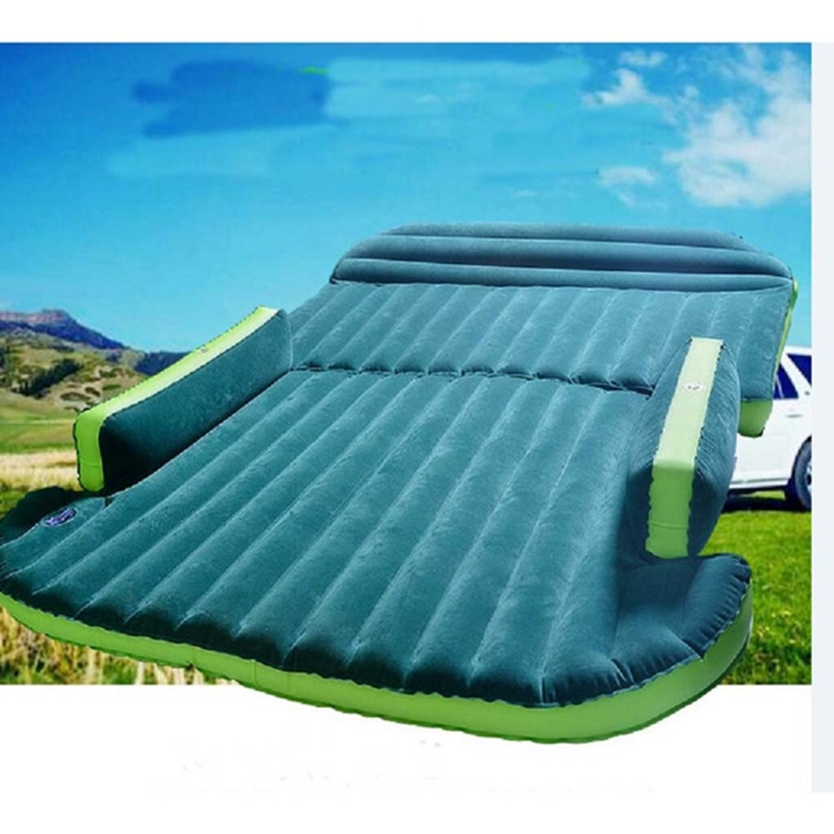 Car Inflatable Mattress - Seat Travel Bed Air Bed Cushion Travel Beds Sofa with Pump Camping Moisture-proof Pad Outdoor for SUV image