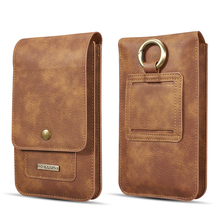 Multifunction 5.2~6.5 Leather Phone Pouch Bags Hook Loop Belt Clip Case for Samsung Note 10 9 8 Wallet Bags for iPhone 11 XR