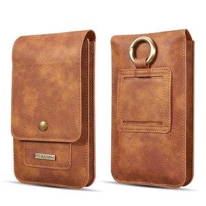Image 1 - Multifunktions 5.2 ~ 6.5 Leder Telefon Beutel Taschen Haken Schleife Gürtel Clip Fall für Samsung Hinweis 10 9 8 brieftasche Taschen für iPhone 11 XR
