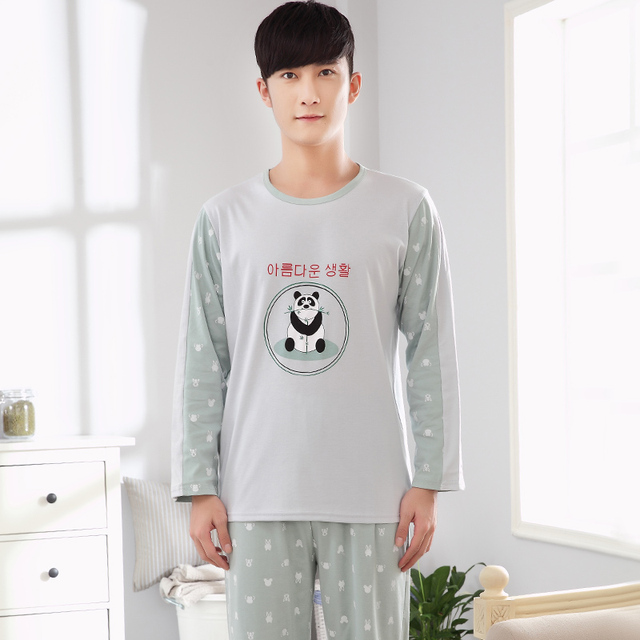2017 New Pajama Sets for Homme Long Sleeves Cotton Home wear Panda Patter- 5082