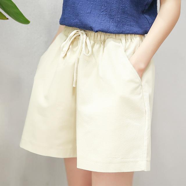 2017 Nueva Primavera Verano Pantalones Cortos de Algodón Mujeres de Cáñamo Pantalones Harem Plus tamaño de Cintura Alta Pantalones Cortos Casuales de Playa Mini Pantalones Cortos para Mujeres