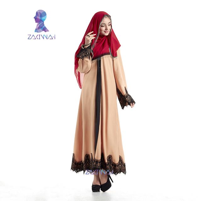 Envío Gratis nueva moda musulmana abaya para las mujeres de manga larga de encaje vestido de ropa de las mujeres Islámicas turcas high Chilaba Túnica Musulmana de