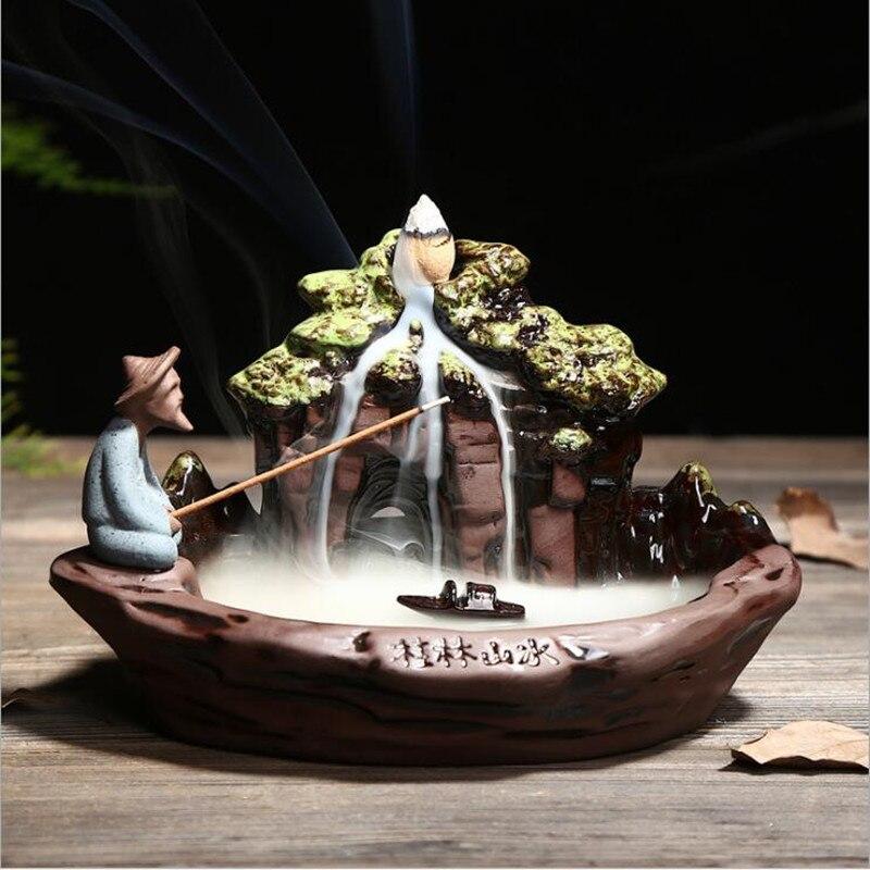 1pc Backflow Incense Burner Home Decor Ceramic Fisher Figure Backflow Incense Stick Holder Censer 10Pcs Incense