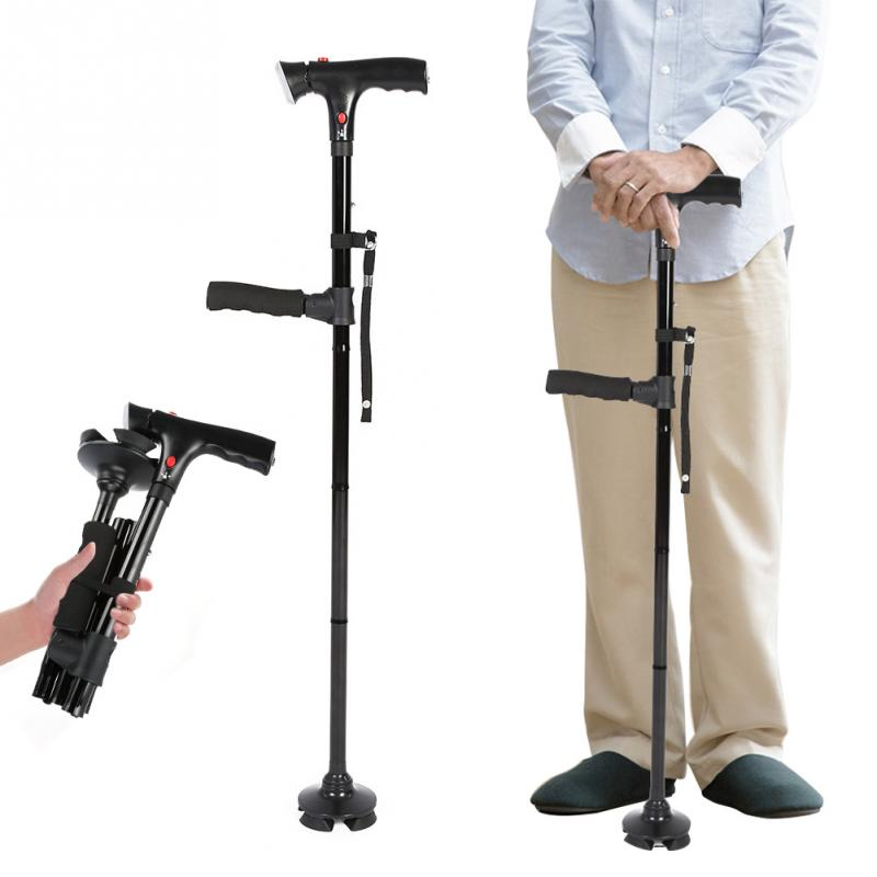 Beauty & Health Foot Care Tool Folding Led Safety Walking Stick Magic Cane 4 Head Pivoting Trusty Base Black Handlebar Elders Protector Adjustable Foot Care