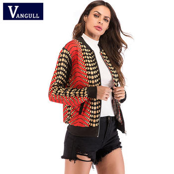 Fashion Casual Spring & Autumn Women's Clothing V-Neck Gradient Thin Cardigan coat zipper Slim Female Short Jackets Outerwear