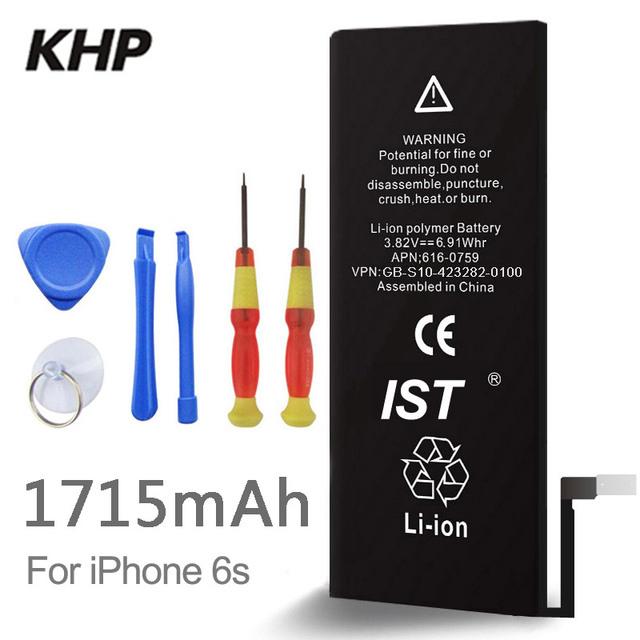 100% original de la marca khp batería del teléfono para iphone 6 s real capacidad 1715 mah con máquinas herramientas kit de baterías móviles