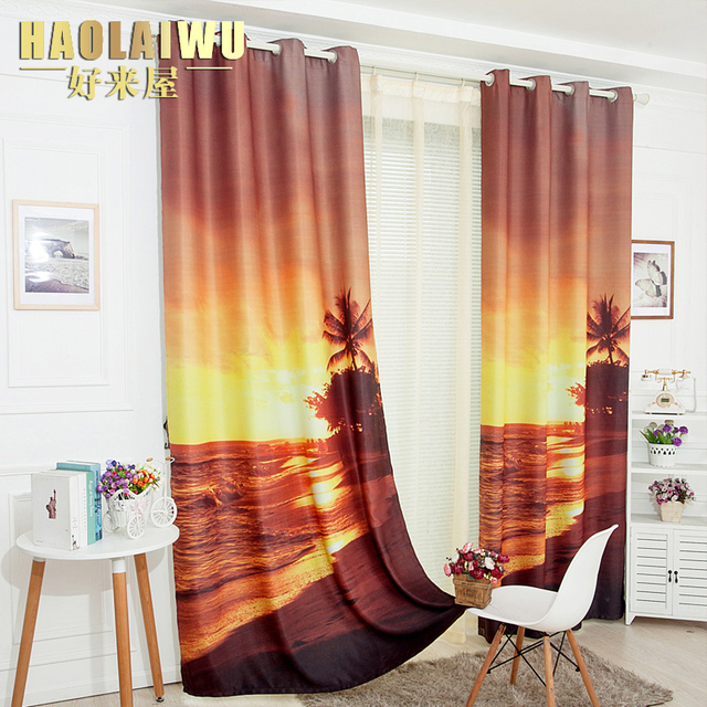 New Arrival 3D Digital Finished Curtain Beach Landing Curtains Bedroom Living Room Free Shipping
