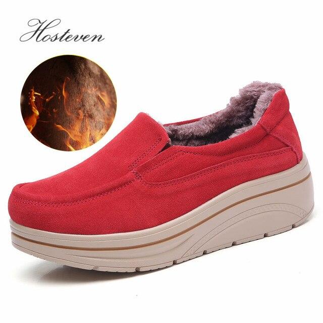 Hosteven Women Shoes Flat Sneaker Moccasins Loafers Oxfords Boat Genuine Leather Plush Fur Spring Autumn Female Ladies Shoe