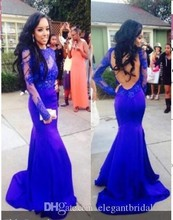 цена на 2015 Lace Evening Dresses Gowns Open Back Long Sleeves Mermaid Floor Length Royal Blue Evening Gowns