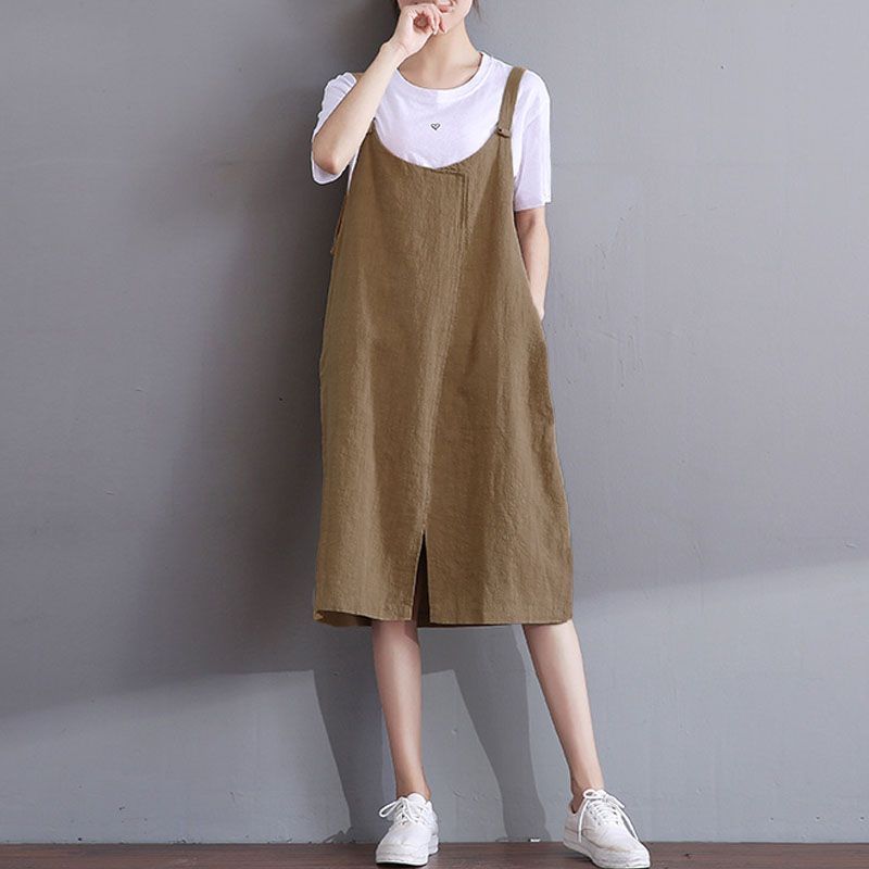 af11de6224 ZANZEA Casual Crew Neck Sleeveless Loose Dress 2019 Women Vintage Solid  Strappy Blackless Cotton Linen Party