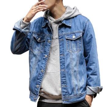 Chaqueta de bombardero para hombre Casual sólido Slim Fit chaqueta otoño  para hombre chaqueta de mezclilla de marca de moda abrigo para hombre talla  grande ... ce7241c96e712