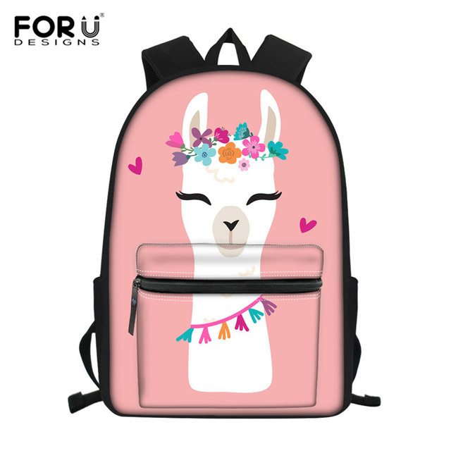 FORUDESIGNS Floral Llama Alpaca Printed School Bags for Kids Primary Schoolbags Girls Large Capacity Book Bags Satchel Mochila – Z4614Z58