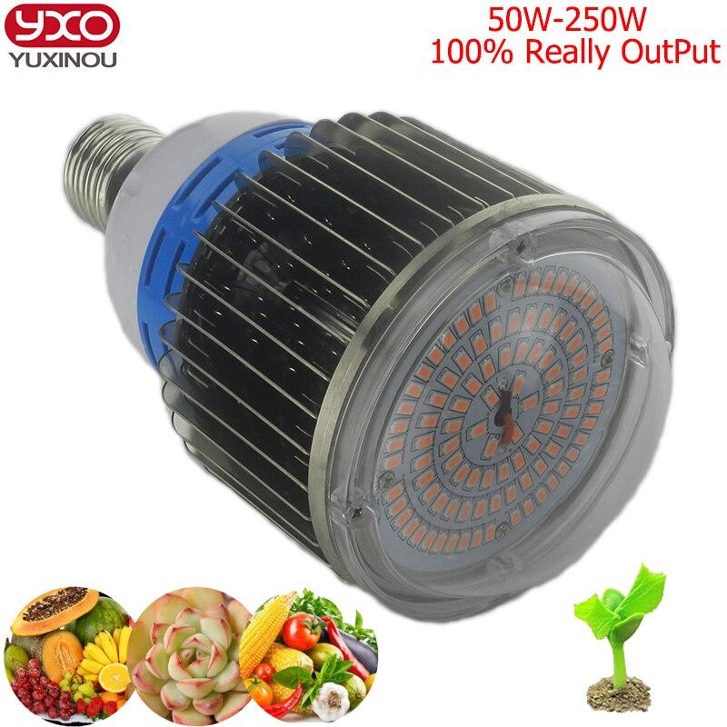 1 pièces 50 w 100 w 150 w 200 w led élèvent des lumières e27 e40 led à spectre complet élèvent l'ampoule pour les systèmes hydroponiques de plantes à fleurs de serre