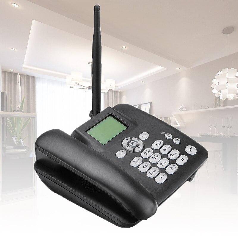 Черный стационарный беспроводной телефон 4G GSM Настольный телефон SIM карта SMS Функция Настольный телефон машина