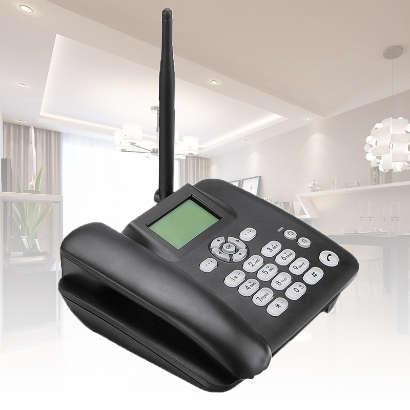 Black Fixed Desktop Wireless Cordless Telephone 4G GSM Desk Phone SIM Card SMS Function Desktop Telephone Machine