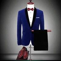 Для мужчин костюмы 2019 Нарядные Костюмы для свадьбы для Мужская шаль воротник обтягивающий официальный платье костюмы Для мужчин s ярко сини