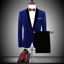 Men Suits 2019 Wedding For Shawl Collar Slim Fit Formal Dress Mens Royal Blue Red Tuxedo Jacket with pant 86700