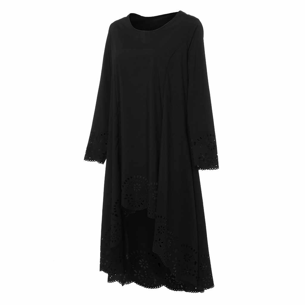 Fashion Summer Dress Women O-Neck Long Sleeve Plus Size 5XL Laser Cut High Low Hollow Out Sexy Dress Girl Pr om Dresses