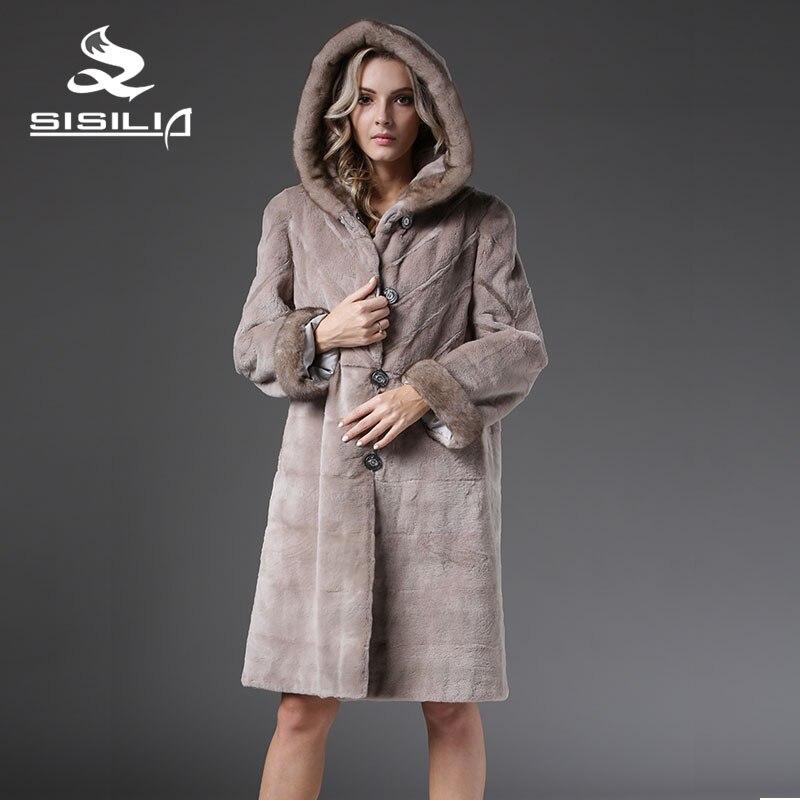 SISILIA 2016 Nuevo Invierno Mujeres Moda Cálida Parkas de Piel de Visón China Abrigo de piel Con Capucha de Piel de Visón Abrigo de Piel Fábrica de Venta Directa