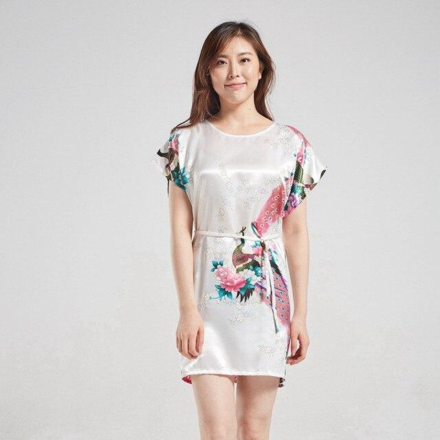 White Vintage Chinese Women s Silk Sleepshirt Sexy Mini Rayon Robe Dress  Printed Floral Nightgown Kimono Gown 4ac377977