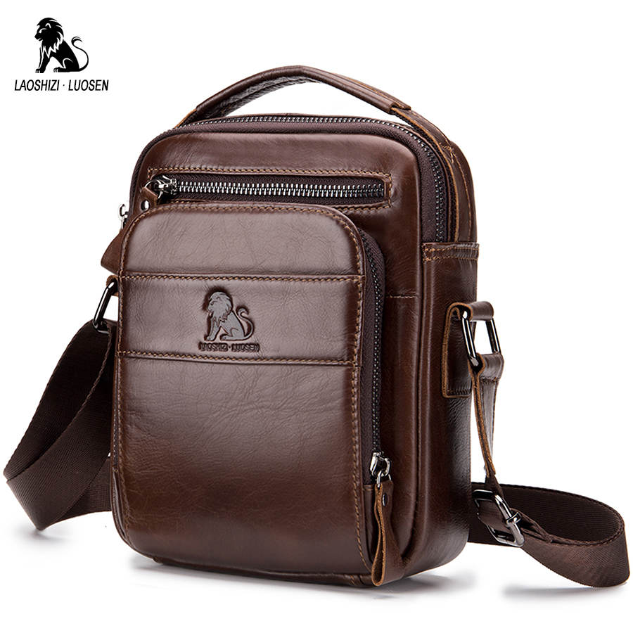 LAOSHIZI LUOSEN Genuine Cow Leather Messenger Bags Men Flap Casual Solid Handbags Multi-pocket Small Male Shoulder Crossbody Bag genuine cow leather messenger bags flap casual men solid handbags famous brand small male shoulder crossbody bags