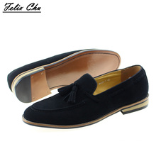 2017 Comfortable Men Black Party Evening Dress Shoes Man Casual Loafers with Tassel Cow Suede Leather Male Driving Flat Shoe