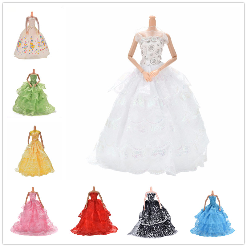 White Multi Layers Elegant Handmade Wedding Princess Dress For Doll Floral Doll Dress Clothes Clothing Dolls Accessories