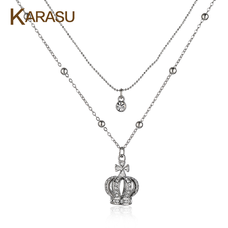 KARASU New Fashion White Gold Filled Crown Cross Pendant Full Beads Double Layer Chains Necklaces Women Jewelry Gifts