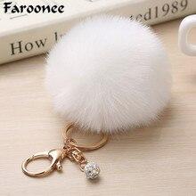 Пушистая сумка для ключей подвеска хрустальные бусины искусственный помпон из меха кролика брелки шаровое кольцо для ключей с украшением цепь Copri Chiave брелок