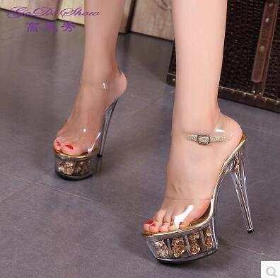 Steel Pipe Dance Shoes 2017 New Crystal Transparent Sandals Waterproof Rose  Flowers Super High Heel 15cm 512337b529db