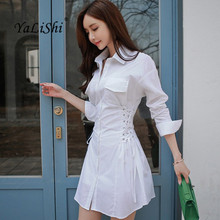 YaLiShi 2017 New Autumn Women Dress Office White Strappy Slim Shirt Dresses Bandage Bodycon A-Line Sexy Vestidos De Festa