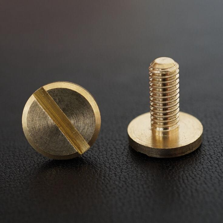 M4*10*10mm Pure solid Brass flat head Button Stud Screw nail Chicago Screw Leather Belt Free Shipping 1000pcs lot 15 mm snap fasteners popper press stud sewing leather button