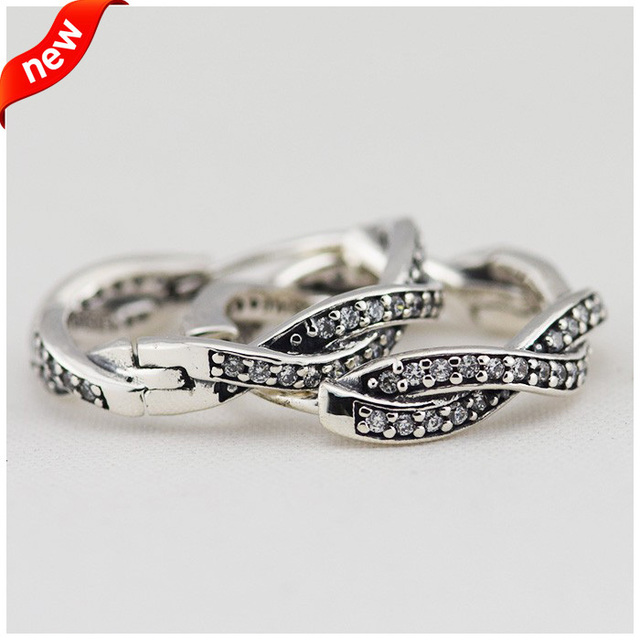 Compatible with European Style Jewelry 100% 925 Sterling Silver Hoop Earrings Braided With Charms DIY Cubic Zirconia Original